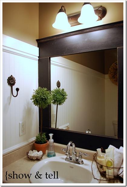 Framed mirror tutorial sweet pickins furniture - How do you frame a bathroom mirror ...